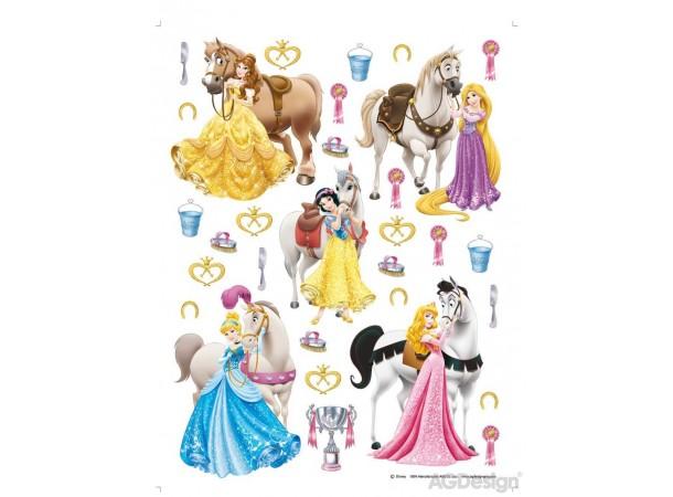 Hercegnők és lovak matrica falra, gyerekszoba (65 x 85 cm)