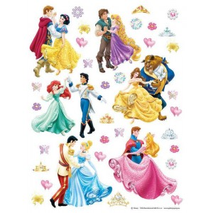 Hercegnők és szerelmük falmatrica gyerekszobába (65 x 85 cm)