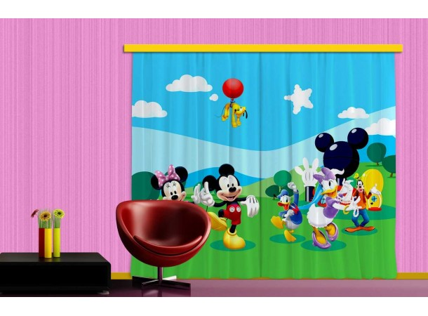 Minnie, Mickey, Daisy kacsa függöny, sötétítő (280 x 245 cm)